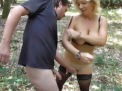 German Mature MILF Outdoor Stockings