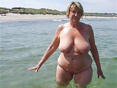 Granny MILF Mature Beach
