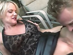 Blonde Mature MILF Outdoor Stockings